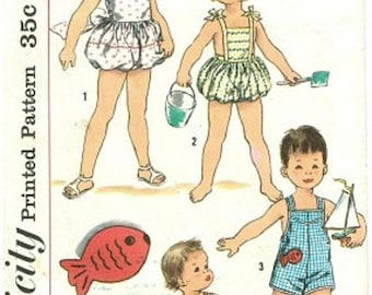 ON SALE Vintage 1950s Childrens Playsuit Girls Bathing Suit w/ Bubble Bloomers or Boys Playsuit w/ Suspenders Sewing Pattern Simplicity 2130