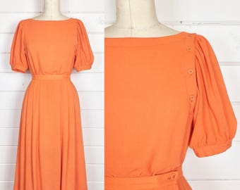 Vintage 1980s Tangerine Rayon Skirt Set / Puff Sleeves / Made by Prophecy / Bateau Neckline