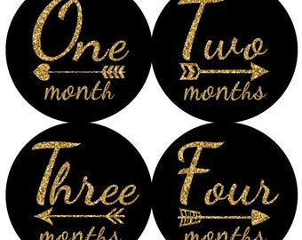 Baby Monthly Milestone Growth Stickers Gold Glitter Black  Arrows Nursery Theme MS801 Baby Shower Gift Baby Photo Prop