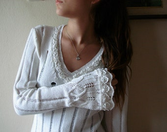 Upcycled sweater White sweater Upcycled Clothing Eco Fashion Romantic Clothing M Large size
