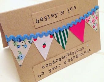 Personalised Engagement Card, Bunting, Rustic, Shabby Chic, Mr & Mrs, Wedding