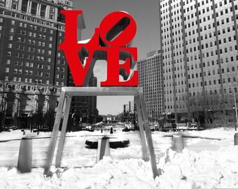 Snow at Philadelphia Love Park, (20x27) Canvas art,Black and white-Philadelphia Art-Photography-Center City.