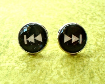 20 % OFF - Black and white Forward and Backward Sign Cabochon Stud earrings,Cute Gift Idea