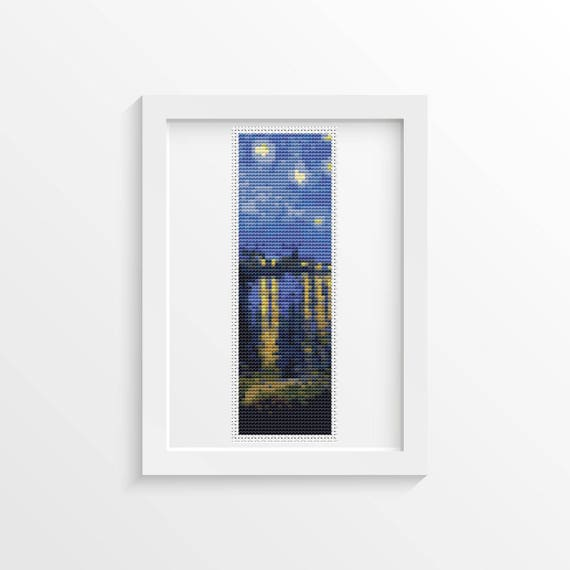 Starry Night Over Rhone Bookmark Cross Stitch Kit Embroidery