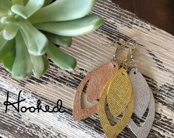 Metallic Layered Leather Cutout Earrings