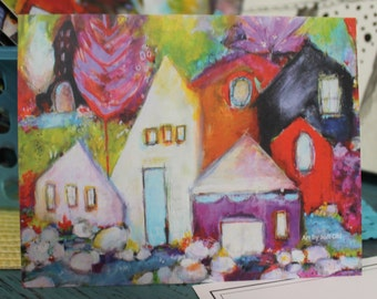 Impressionistic Contempary House Painting in a note card Purple Red Green  by Jodi ohl