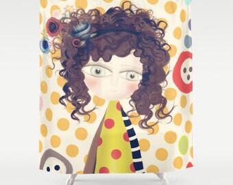 Shower Curtain - Happy Retro Polka Dots