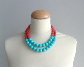 Red turquoise statement necklace double strand