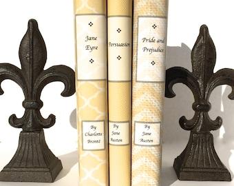 Neutral books - Decorative books - Jane Eyre - Jane Austen - Vintage Books - Custom Book Cover - Custom book jacket - Personalized books