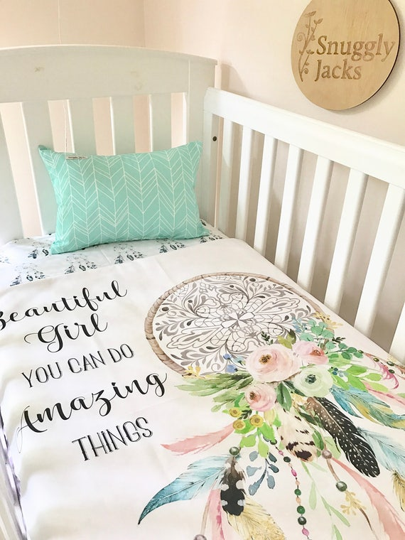 Baby Cot / Crib Quilt Blanket Boho Amazing Things Dreamcatcher : baby cot quilt sets - Adamdwight.com