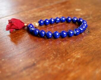Mala Bracelet Tassel Stretchy Gemstone Meditation Yoga Jewelry Lapis and Brass Bright Bracelet for Women Prayer Beads