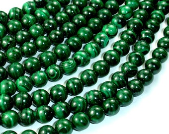 Natural Malachite, 8mm Round Beads, 15.5 Inch, Full strand, Approx 50 beads, Hole 1mm (312054801)