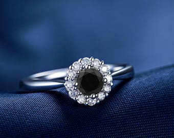 Round Cut Black Diamond Engagement Ring 14k White Gold or Yellow Gold Halo Diamond Ring Art Deco Anniversary Ring