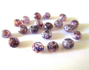 10 rondelle beads faceted speckled purple and orange glass 6x5mm