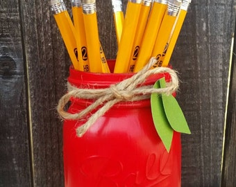 Teacher Gift- Red Mason Jar- Teacher Appreciation- Desk Decor-Red Apple Mason Jar- Teacher Mason Jar-Pencil Holder- Teacher Desk Decor