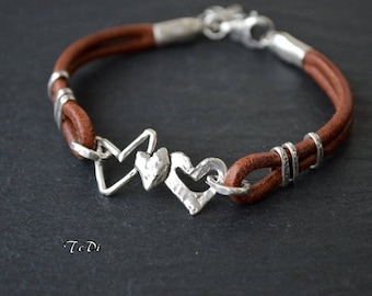 Sterling Silver Heart Leather Bracelet Artisan Bracelet Italian Leather Charm Bracelet Love bracelet BOHO Modern Unique
