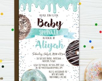Donuts Baby Shower Invitation, Donuts Boy Baby Shower Invite, Sweet Blue Donuts Baby Sprinkle Baby Shower Printable Invitation