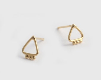 Gold Triangle Earrings, Small Triangle Earrings, Triangle Studs, Triangle Post Earrings, Geometric Studs, Everyday Earrings, Simple Earrings