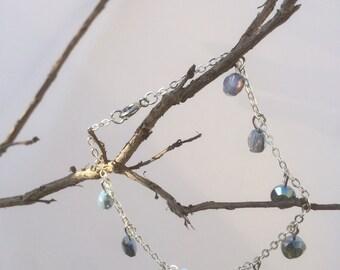 Iridescent blue glass bracelet