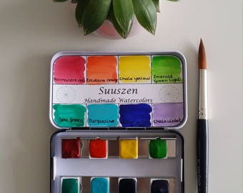 Rainbow handmade watercolor palette