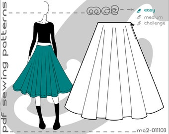 Circle Skirt (sizes: uk 6-16/ usa 2-12) SLOPER/BLOCK sewing digital pdf Pattern for Women >mc2patterns< mc2-011103