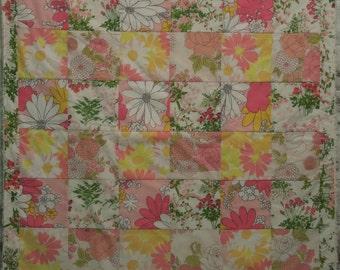 modern patchwork squares baby blanket vintage sheet heirloom keepsake quilt -  - pink lemonade - pink, yellow, white, green