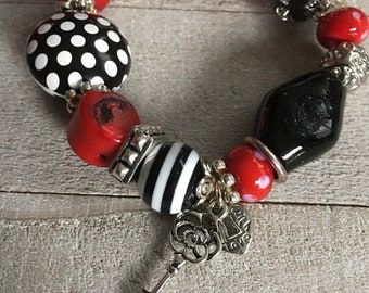 RED and BLACK Chunky Bracelet, Costume Jewelry, Polka Dots