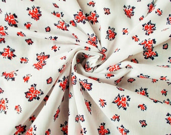 Vintage Polycotton Dress Fabric - 1960's/1970's - Red & navy flowers on a white background - 1 piece - Unused