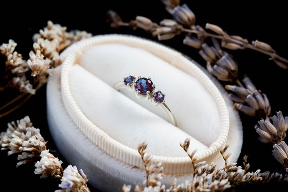 14k gold three stone alexandrite engagement ring, alexandrite gold engagement ring, alternative engagement ring, unique engagement ring