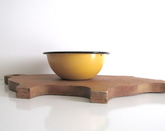 Vintage Yellow Enamelware Bowl Black Trim Retro Kitchen Rustic Cabin Decor
