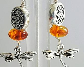Outlander Amber dragonfly earrings