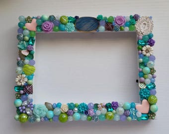 Blue, Green, and Purple Jeweled, 5x7 Inch Picture Frame