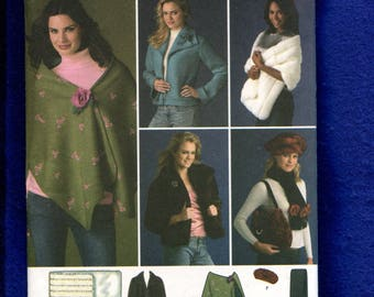 Simplicity 4355 Short Jacket Stole Scarf Purse and Hat Sizes M..L..XL Uncut