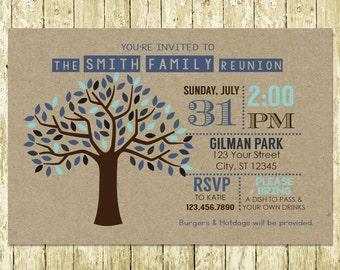 Family Reunion Kraft Paper Digital Invitations