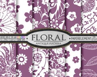Antique Fuchsia Purple Floral Digital Paper Pack for Scrapbooking - Printable Flower Patterns - Instant Download