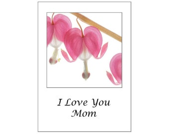Mother's Day Card, Heart Greeting Card,  I Love You Mom, Flower Card for Mother, Blank Card