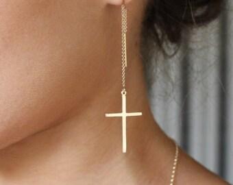cross earrings   threader earring    long cross earrings   Chain Earrings  Threader Earrings   Gold Filled   SILVER   Gift For Her