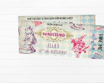 Wonderland Ticket Invitation, Alice in Wonderland Invitations, Wonderland Ticket Invitations, Wonderland Invites, Wonderland themed party,