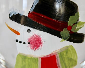 Snowman with Cardinal hand painted wine glass