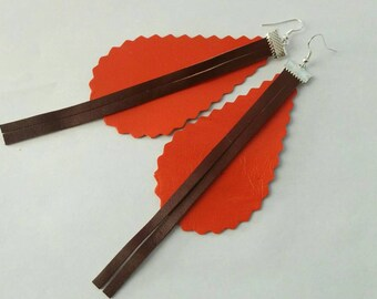 Leather earrings, brown earrings, orange earrings, leather jewelry,leather dangle,dangle earrings, orange dangle,drop earrings, dangle brown