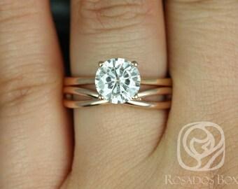 Rosados Box Skinny Flora 8mm & PLAIN Skinny Lima 14kt Rose Gold Round F1- Moissanite Tulip Cathedral Wedding Set
