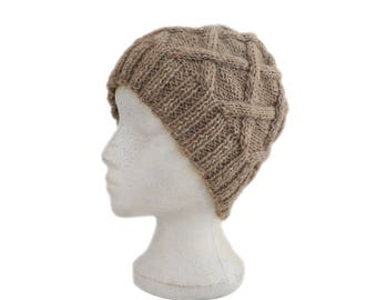 Light beige hand knit beanie hat warm winter handknit hat made of natural wool yarn
