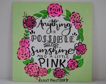 Sunshine & Pink Lilly Pulitzer Canvas
