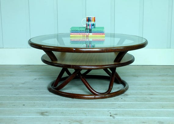 Superbe Vintage Rattan Glass Lazy Susan Coffee Table Bamboo Round
