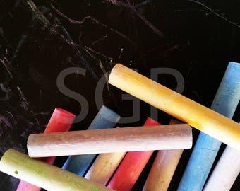 Colored Chalk Chalkboard Frame Stock Photography, Stock Photos Digital Download, Digital Paper, Scrapbook Journal Paper, Wall Art