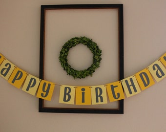 Happy Birthday Banner / Yellow & Gray / Hanging Banner / Party Decor / Birthday Decorations / Gender Neutral