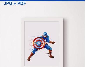 Captain America watercolor print Steven Rogers poster Avengers art Superheroes watercolour Marvel superhero art Printable Steven Rogers Gift
