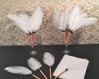 FEATHER PENS HollyWood Theme Wedding Party Favor/GIFT Bridal Shower Favor Bachelorette Party Favor Old HollyWood Glamour Wedding Favor Decor
