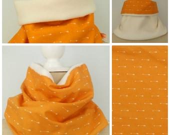 Warm adult Snood reversible orange - neck warmer-