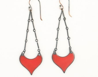 Long Red Earrings Handmade Enamel Dangle Earrings Moroccan Inspired